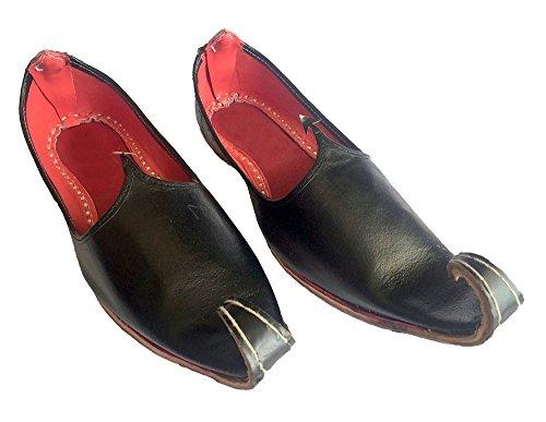 Stap N Stijl Heren Zwart Khussa Schoenen Punjabi Jutti Rajasthani Mojari Handgemaakt Zwart