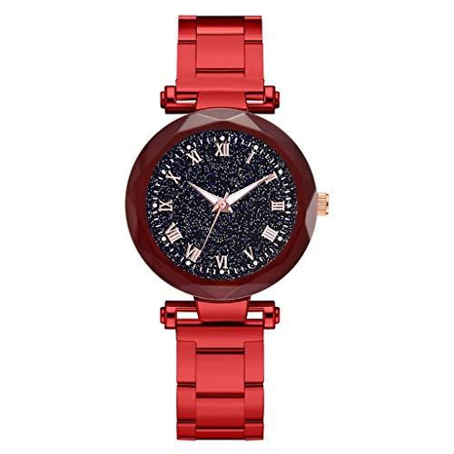 (Kauneus  Waterproof Wrist Watch for Women Fashion Leisure Starry Sky Flickering Quartz Steel Strip Lady Watches)