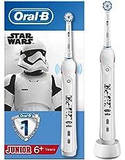"""Oral-B Junior Akumulatorowa szczoteczka elektryczna do zębów stworzona w technologii Braun z motywem """"Star Wars"""", """"Gwiezdnych wojen"""", 1 końcówka szczoteczki do zębów, dla dzieci powyżej 6. roku życia"""