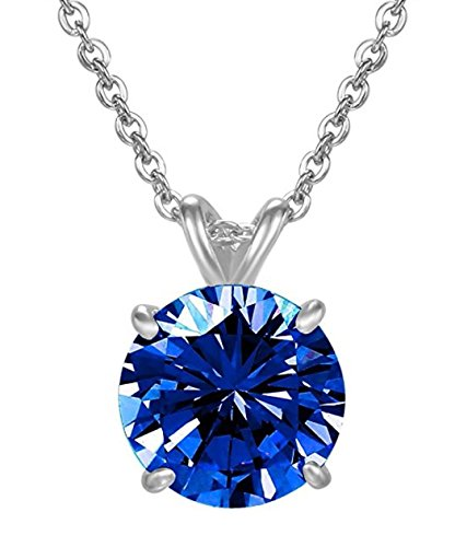 Sterling Silver September Birthstone Necklace 18 inch 2 Carat Sapphire Necklace Anniversary Birthday Mother