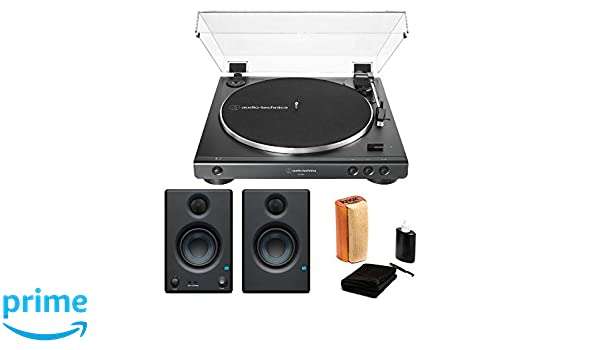 Audio-Technica AT-LP60X Fully Automatic Belt-Drive Stereo Turntable with Eris 3.5 Monitors and Knox Vinyl Cleaning Kit (3 Items)