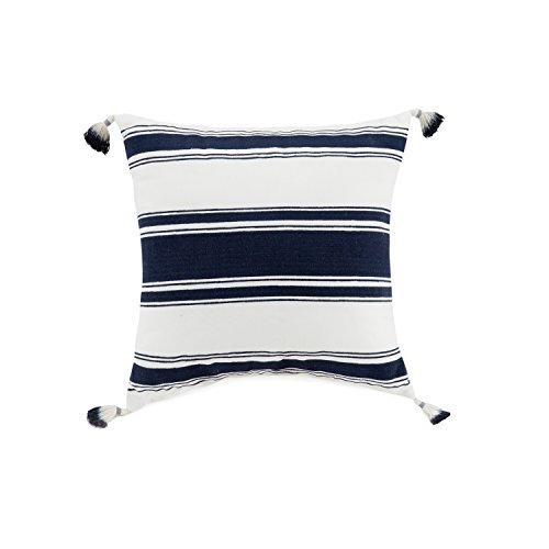Vera Bradley A075416NYICE Tassel Stripe Decorative Pillow, 16X16'' , Navy (Tassel Pillows Decorative)