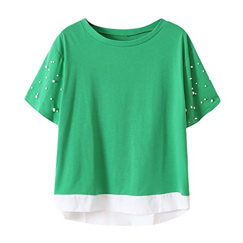 Ximandi Womens Summer Casual Beaded O-Neck Short Sleeve Patchwork Loose T Shirt Tops