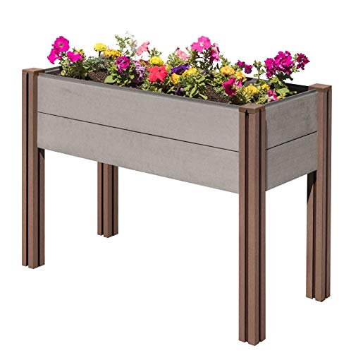Stratco Wood Plastic Composite Elevated Garden Bed - Elevated 48 (L) X 32(h) X 20 (w) – Beautiful Elevated Planter Kit for Flower and Vegetable Planter, No Tool Assembly
