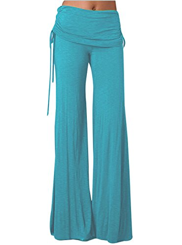 Ruched Leg Pant - GUOLEZEEV Women's Solid Wide Leg FlaBlue Lounge Pants with Ruched Fold-Over Waist Blue S