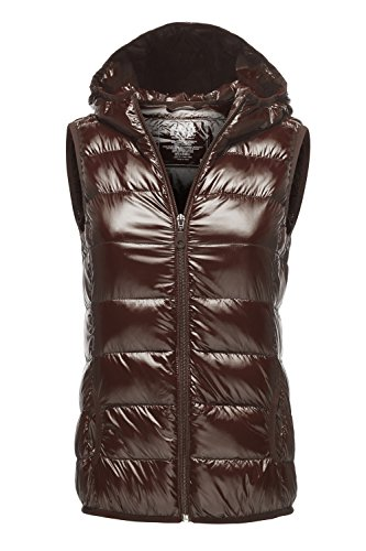 Warm Ultra Light Packable Down Parka Hoodie Vest Jackets, 034 - Brown, US S