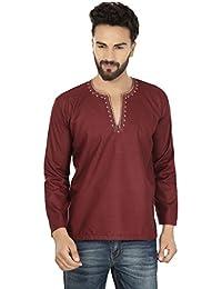 Embroidered Fashion Shirt Mens Short Kurta Cotton Indian Clothing