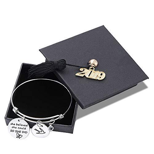 Graduation Gifts Charm Bracelet - Inspirational Bird Birthdaystone Adjustable Charm Bangle Bracelet Engraved She Believe She Could So She Did Girls Inspirational Gifts Graduation Gifts for Her (2019)