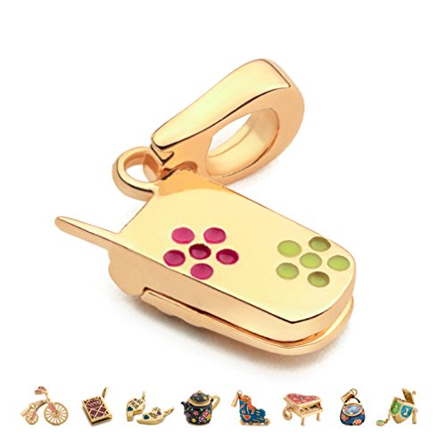 CHARMULET 14k Plated Gold - Interactive Cellphone Charm - Compatible with Charm Bracelet by Charmulet - Gift Box Included