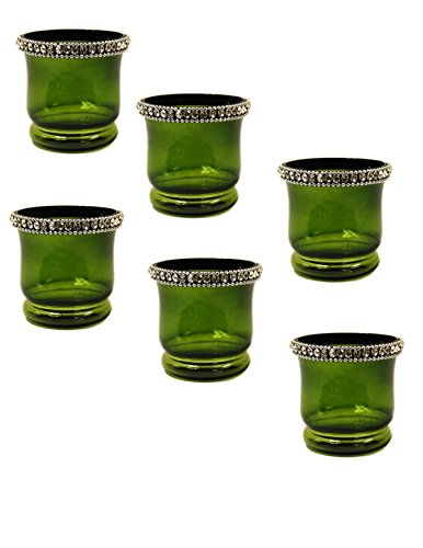 IMA BRASS Crystal Tealite Holders Set of 6 Pcs ()