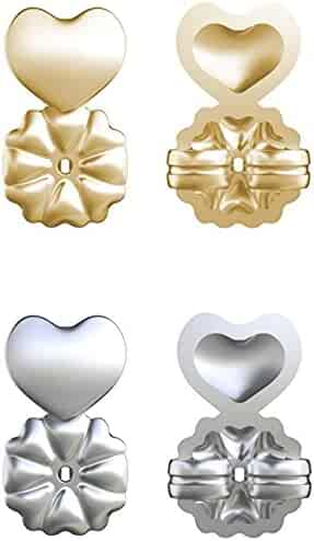 Magic Bax Earring Lifters - 2 Pairs of Adjustable Hypoallergenic Earring Lifts (1 Pair of Sterling Silver and 1 Pair of 18K Gold Plated) As Seen on TV