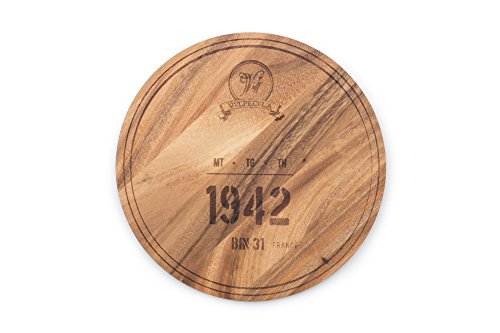 Ironwood Gourmet 28445E336 1942 Wine Barrel Engraving Multi-Use Circle Serving Board One Size