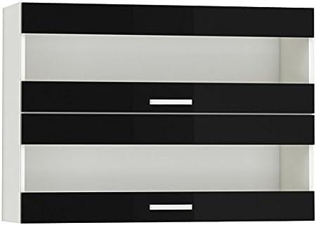 Meuble Haut De Cuisine Design 100 Cm Avec 2 Portes Vitrees Horizontales Coloris Blanc Mat Et Noir Laque Amazon Fr Cuisine Maison