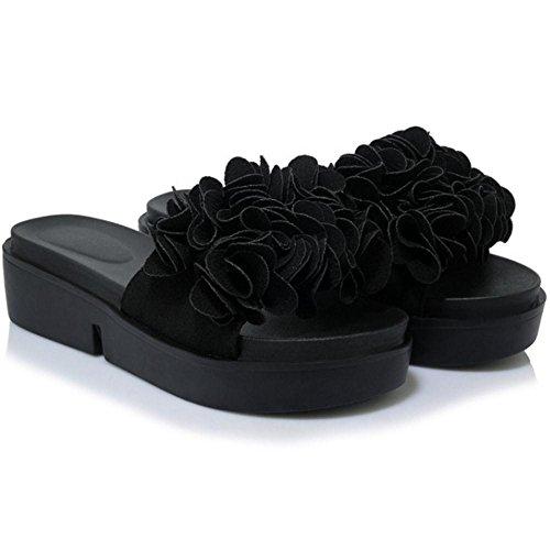 TAOFFEN Womens Sandals Platform TAOFFEN Womens Black Mules 5HxpqEn1