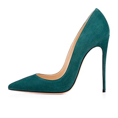 Cuir Vert Fermé Femmes Couture Synthétique Taille Bout Pointu Aiguille Stiletto Haut suede Classic Grande 12cm Elashe Haute Talon Sexy YTwqqg