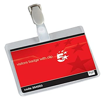 5 Star Office Name Badges Visitors Landscape with Plastic Clip 60x90mm  (Pack 25)