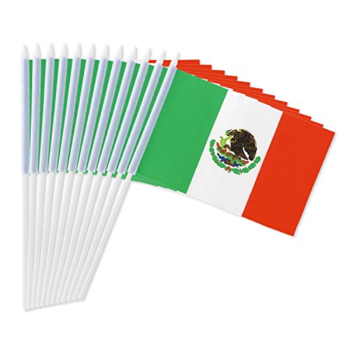 Portable Flag Packs (Mexico Stick Flag, ANLEY Mexican 5x8 inch HandHeld Mini Flag With 12