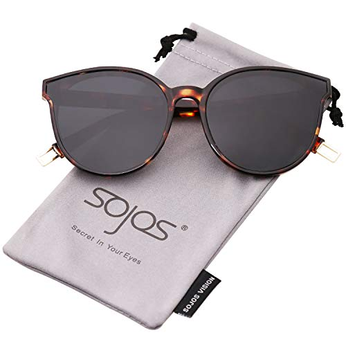 SOJOS Round Sunglasses for Women Mirrored Lens SJ2057 with Tortoise Frame/Grey Lens by SOJOS