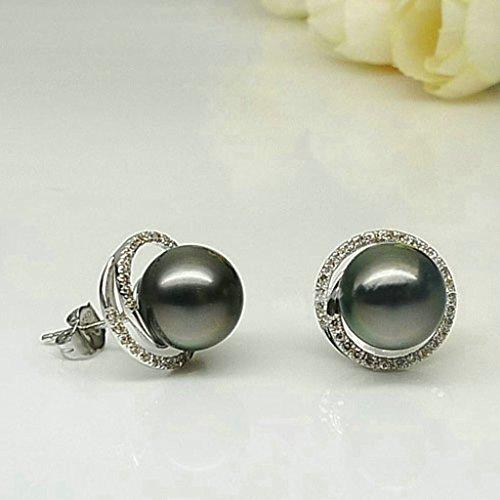 Aooaz Femmes Argent Boucles d'Oreilles Clousd'oreilles Noir Pearl Ronde Zircone Cubique Charm Boucles d'Oreilles