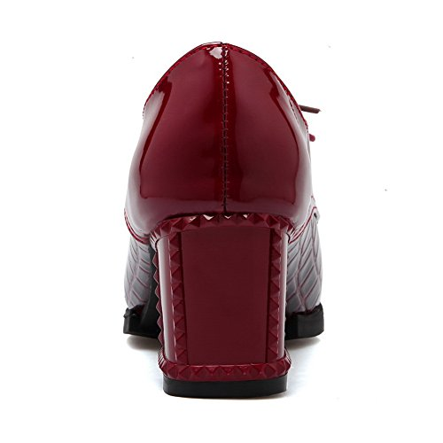Bordeaux Mesdames Brevet En Balamasa Cuir Plaid Talon Pointed Fashion toe Motif Pumps shoes dthQrCsx