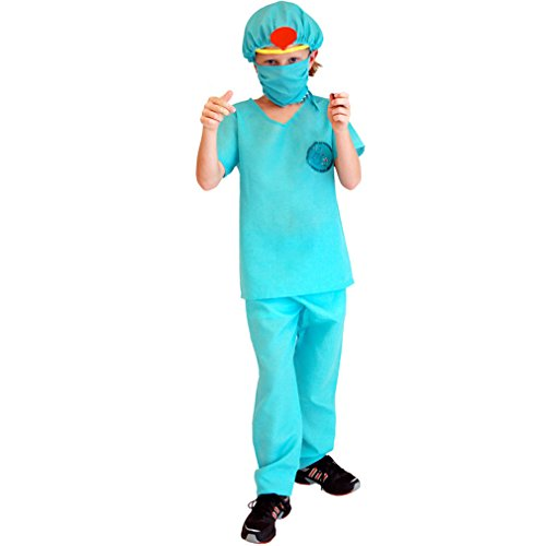 Spooktacular Kids' Doctor Dress-Up Surgeon Costume Set with Scrubs, M ()