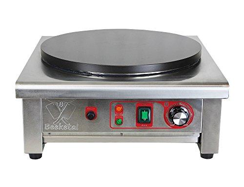Beeketal 'BC40-1' Gastro Crepes Maker mit Ø 400 mm antihaft Crepesplatte, 50 - 300 °C stufenlos einstellbar, Profi Crepiere im Edelstahl Gehäuse mit extra Schublade