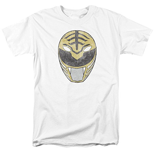 Trevco Men's Power Rangers Short Sleeve T-Shirt, White, Large