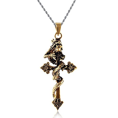 Stainless Steel Cross Pendant Chinese Dragon Necklace with Free Chain 24 inches,18K Gold Plated (Dragon Cross Pendant)