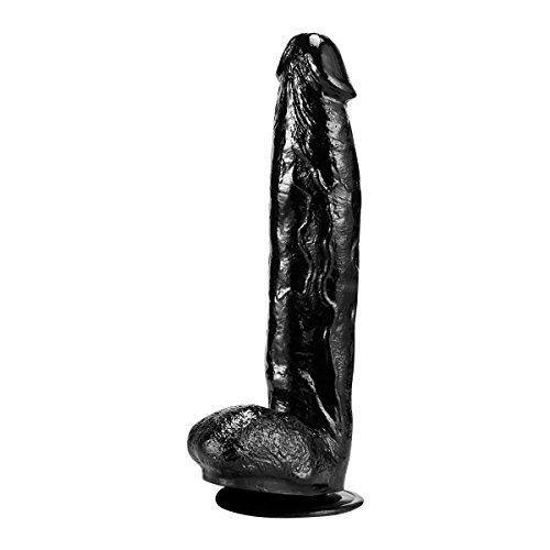 Padgene 12 Inch Liquid Silicone Dildo Big Dildo Penis Cock with Suction Base (Black)