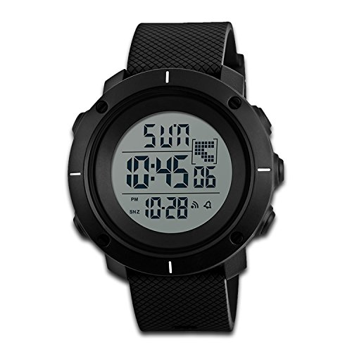 Mens Digital Watch, Kid Boy Outdoor Sport Watch Military Army Black Waterproof LCD Electronic Wristwatch EL Back Light 50M Water Resistant Stopwatch Alarm Calendar Month Date Weekday (Dual Time Stopwatch)