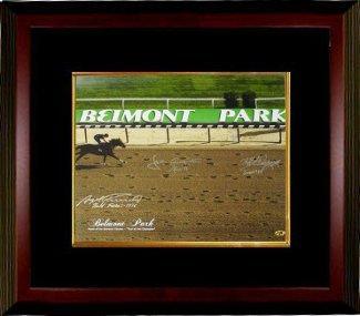 Athlon CTBLsMB13388 Seattle Slew Signed Belmont Stakes Winners Belmont Park Horse Racing Photo Custom Framed with 3 Signatures - 16 x 20