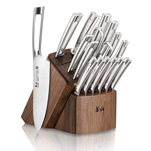 Cangshan TN1 Series 1021974 Swedish Sandvik 14C28N Steel Forged 17-Piece Knife Block Set, Walnut