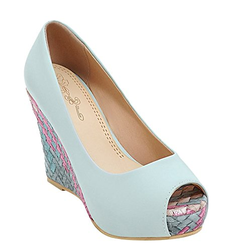 Mee Shoes Damen Peep toe Keilabsatz Plateau Pumps Blau