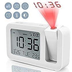 TedGem Digital Projection Dual 3.8 LED Large Number Clock 4 Brightness, Snooze, 2 Alarm Sounds, for Bedroom, Office, Kitchen, White
