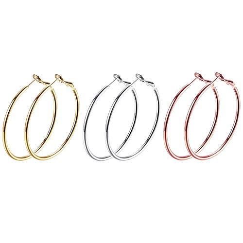 3 Pairs Big Round Hoop Earrings, 50mm Stainless Steel Hoop Earrings in Gold Plated Rose Gold Plated Silver for Women Girls