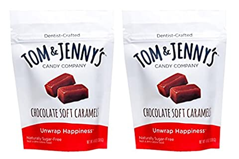 Tom & Jenny's Sugar Free Chocolate Soft Caramels Sweetened with Xylitol and Maltitol 4.6oz bags (pack of - Diabetic Sugar Free Candy
