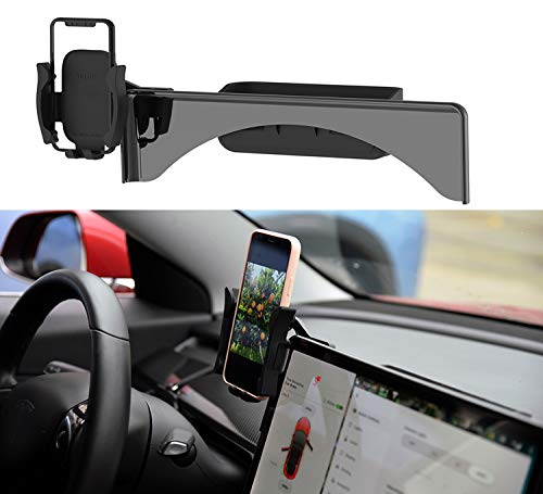 Topfit Car Cellphone Mount for Tesla Model 3 Model Y Monitor Fixed Clip Safety Cell Phone Holder Stand (Silence) Upgrade…
