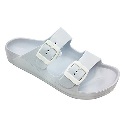 (FUNKYMONKEY Women's Comfort Slides Double Buckle Adjustable EVA Flat Sandals (6 M US-Women,)