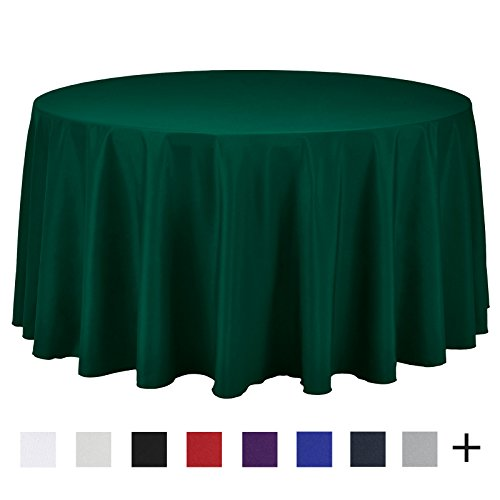 Remedios 120-inch Round Polyester Tablecloth Table Cover - Wedding Restaurant Party Banquet Decoration, Hunter - Cover Round Table Green Hunter