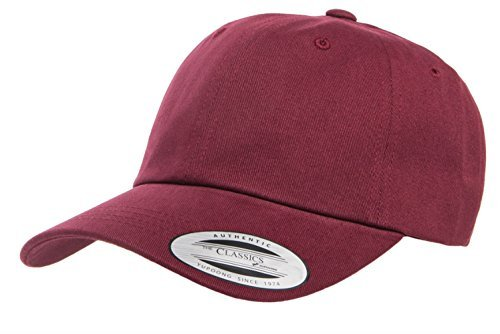 Yupoong Twill Hat (Yupoong Peached Cotton Twill Dad Cap, Maroon, One Size)