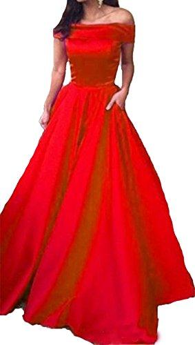 Bessdress Au Large Des Robes De Soirée Épaule Longue Robes De Fomal De Soirée En Satin Avec Poctets Bd394 Rouge
