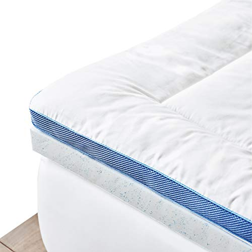 (ViscoSoft Pillow Top Latex Mattress Topper Queen | American Made Cool Gel-Infused Latex | Responsive 3 Inch Pillow Top Gel Mattress Topper with Adjustable Plush Mattress Pad Cover)