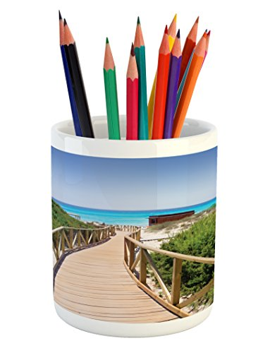 Lunarable Beach Pencil Pen Holder, Beach Pathway over the Woodland in Spain Countryside Cottage Summer Sun Print, Printed Ceramic Pencil Pen Holder for Desk Office Accessory, Green Cream Blue by Lunarable
