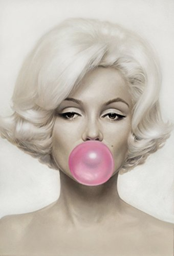 HerMosa@ Marilyn Monroe Pink Bubble Gum Canvas Print Wall Art Bedroom Living Room20 inch x 28 inch unframed
