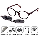 O-LET Eyeglass Frames for Prescription with Clip On Sunglasses Polarized for Women Men (7013-Red)