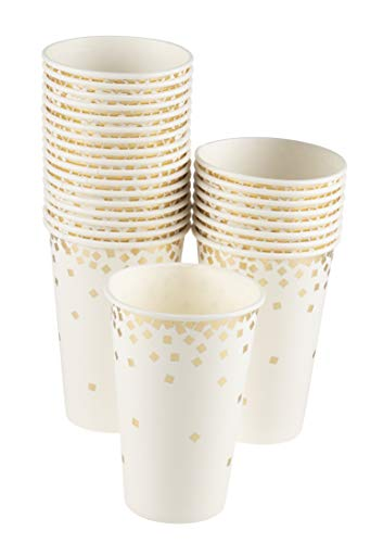 Confetti Party Paper Cups - 50 Pack Gold Foil Disposable Paper Cups, Party Supplies and Decorations for Kids Birthday, Wedding, Bachelorette Party, Baby Shower, White and Gold, 12 Ounce