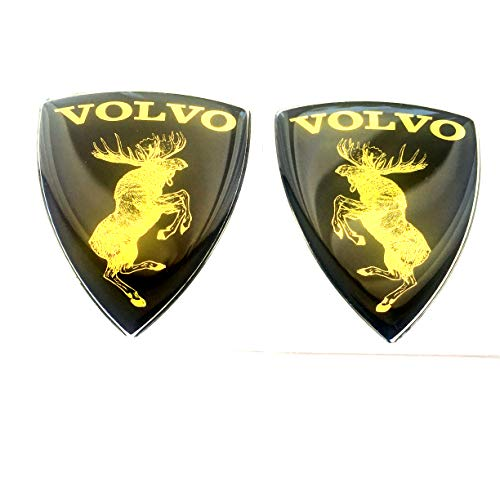 "Alstickers! Prancing Moose (ELK) Volvo Set 2 Pieces car Stickers, Polyurethane on The Metallic Film Size of 1.89""x2,28 (48x58 mm), Black"
