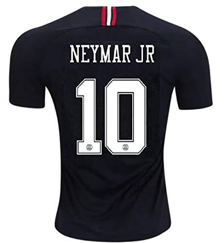 (Neymar JR 10 PSG Third 2018-19 (Official Printing) Soccer Jersey Jordan Third Men's Color Black Size)