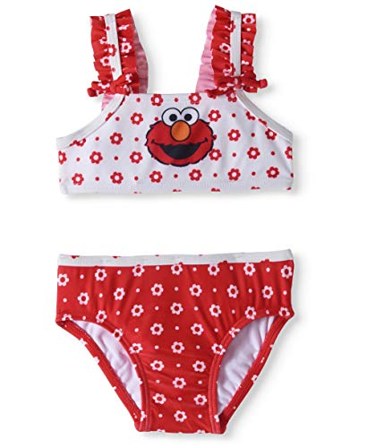 Elmo Seasame Street Baby Girl Ruffle Trim Bikini Swimsuit (3/6 Months)