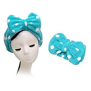 Shintop Sweet Super Soft Caroset Polka Dots Wash Cosmetic Headband Hairlace (Dark Blue Polka Dots)